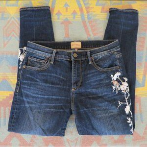 Driftwood Sundance Embroidered Floral Skinny Jeans